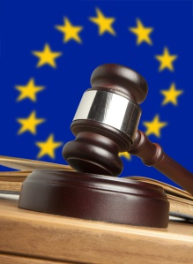 Gavel  and Flag of Europe